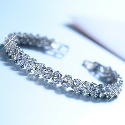 White Sapphire CZ Tennis Bracelet 10Kt White Gold Bangle Wedding Bride Jewellery