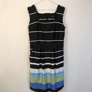 Dorothy-Vestido-UK-14-Negro-de-impresion-de-rayas-azul-largo-sin-mangas-36-034