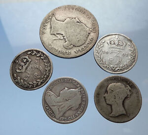 GROUP-LOT-of-5-Old-SILVER-Europe-or-Other-WORLD-Coins-for-your-COLLECTION-i69251