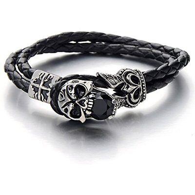 COOLSTEELANDBEYOND Gothic Biker Stainless Steel Mens Skull Bracelet Genuine Braided Leather Wristband Silver Black Two-tone