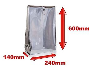 1x-Mylar-Bolsa-Calor-Sello-240-x-140-x-600mm-Aluminio-Efecto