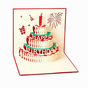3D Pop Up Greeting Cards Happy Birthday Cake Anniversary Mothers