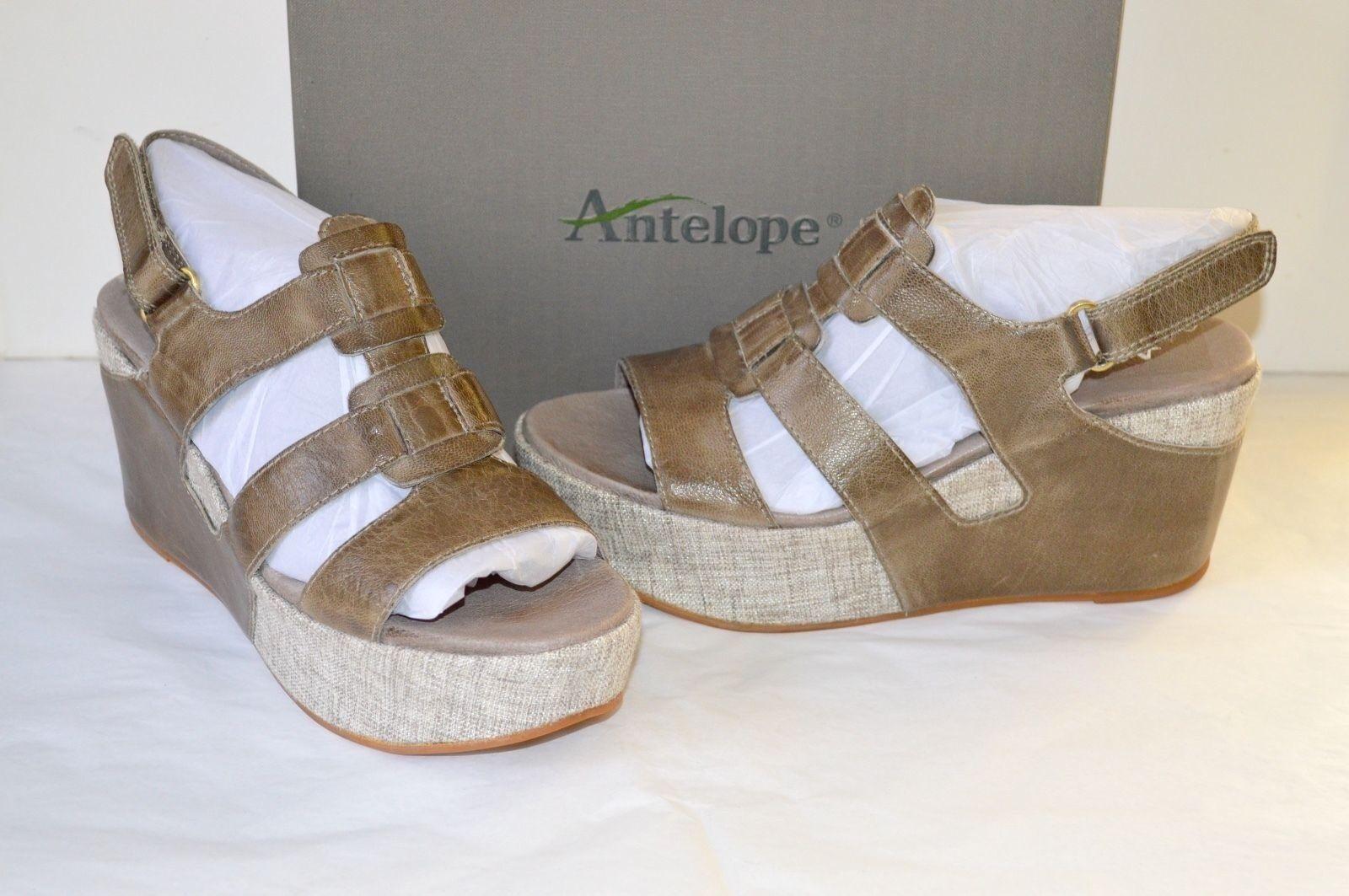 New  Antelope Style 859 Grey Leather Wedge Sandal sz 41 10 Platform