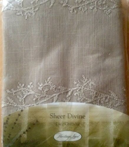 """60/""""x84/""""floral Panel Heritage lace Sheer Divine Flax"""