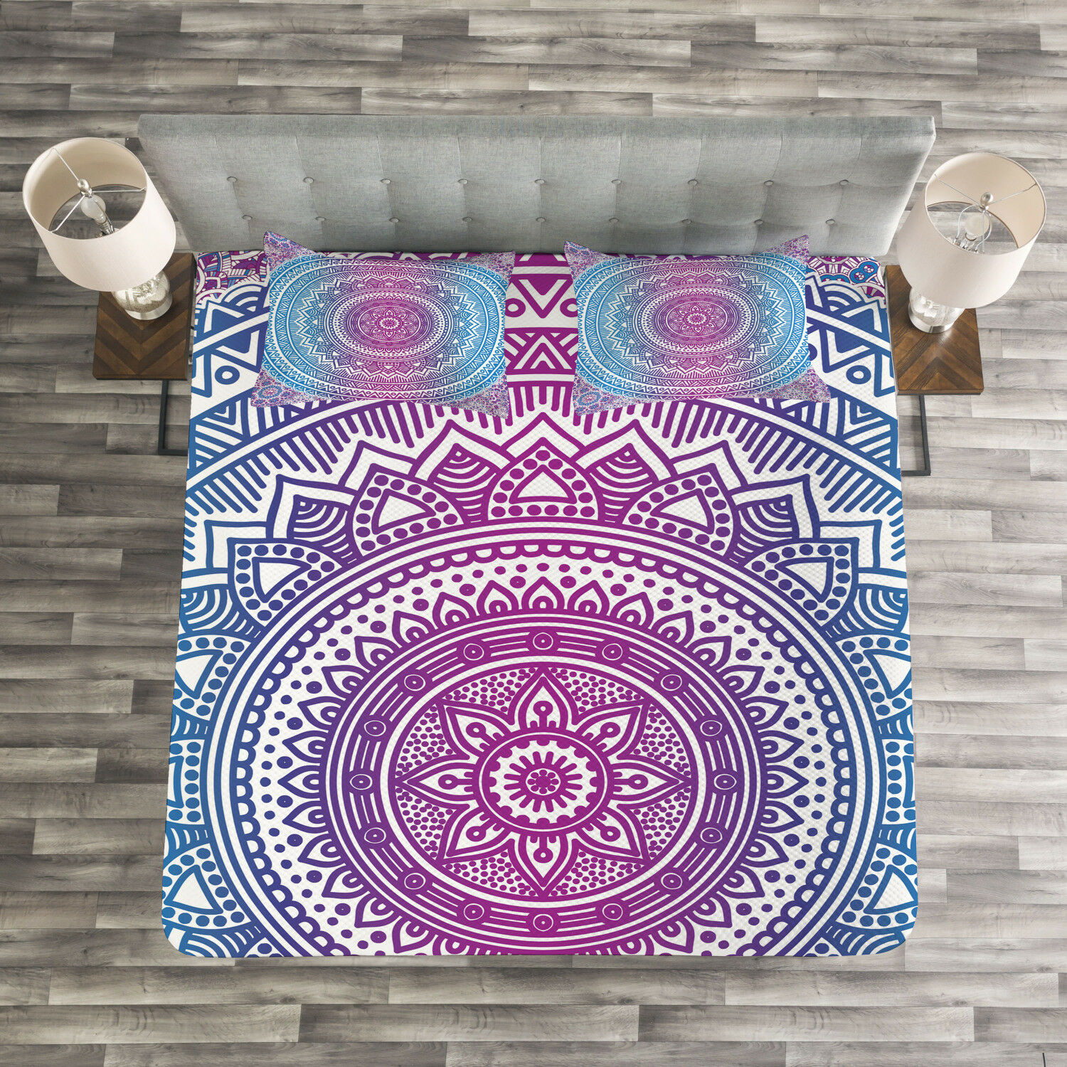 Ombre Quilted Bedspread & Pillow Shams Set, Mandala Pattern Print