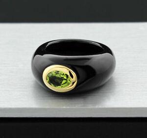 Jade-Anillo-Peridoto-en-14-Quilates-585er-Oro-Amarillo-Valor-NUEVO-40304