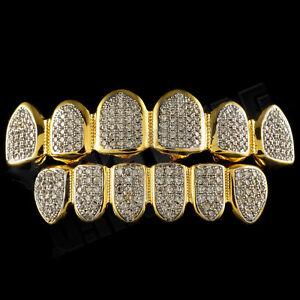 18K-Gold-Plated-CZ-Micro-Pave-Top-Bottom-CUSTOM-GRILLZ-SET-Rhodium-Teeth-Grills