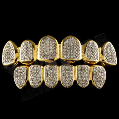 18K Gold Plated CZ Micro Pave Top Bottom CUSTOM GRILLZ SET Rhodium Teeth Grills
