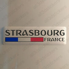 Strasbourg France Autocollant 120x30mm Drapeau 3D Adhésif Relief Autocollants