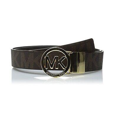 New Michael Kors Women's Reversible MK Logo Belt Brown / Black 551342 All Sizes
