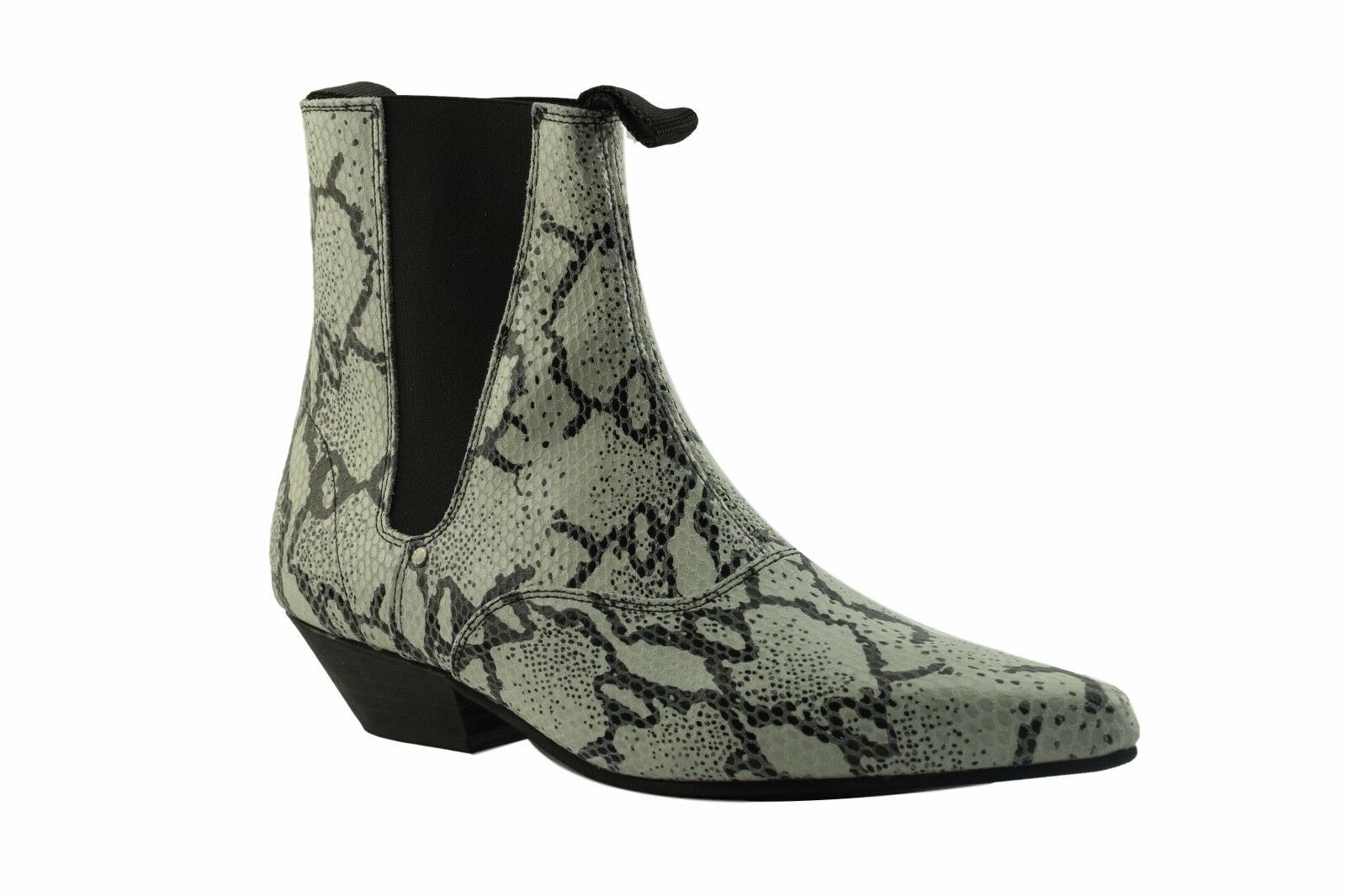Steel Ground WEISS Leder Chelsea Stiefel Python Skin Look Beat Boot Cuban Heel