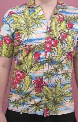 Herzog Herrenhemd Hawaiihemd Kurzarmelig Hemd 80er True Vintage