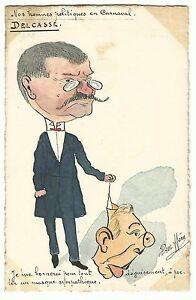 France Delcassé in carnival handpainted cartoon postcard signed HÉRE ~1906