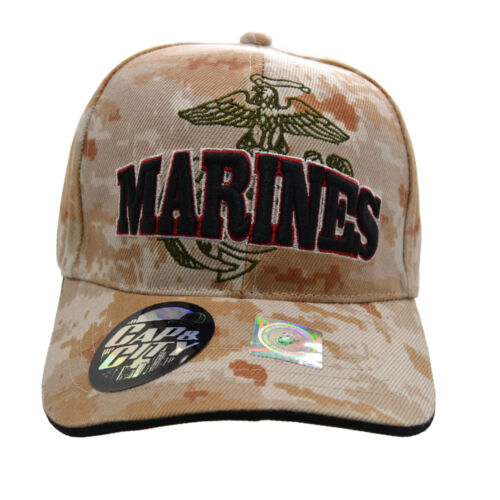 "/""US MARINES/"" Official Licensed Shield Camouflage Military Caps"