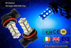 2x-H11-LED-Blue-HID-Strobe-Flash-Police-Fog-Bulbs-Car-DRL-Lamps-Lights-Car-12v