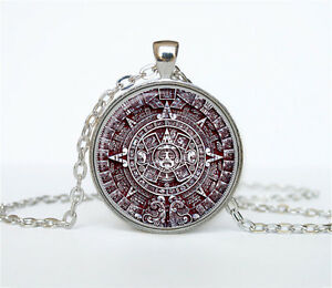 Image Is Loading Aztec Calendar Necklace Sun Stone Pendant