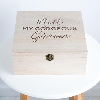 """""""il Mio Splendido Personalizzato Sposo 'scatola Regalo In Legno, Scatola Di Bomboniera Matrimonio (l3c2)-mostra Il Titolo Originale"""