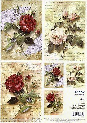 """3D Decoupagepapier """"Roses"""" (Art.Nr.83532) Ergibt 3 Karten"""