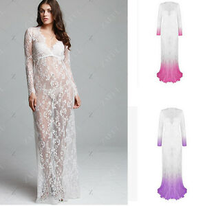 Details About Women Lace Sexy V Neck Full Length Maxi Dress Evening Party Wedding Plus Size