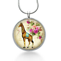 Giraffe Flower Jewelry, Peace Pendant, Vintage Necklace, Pendant Jewelry