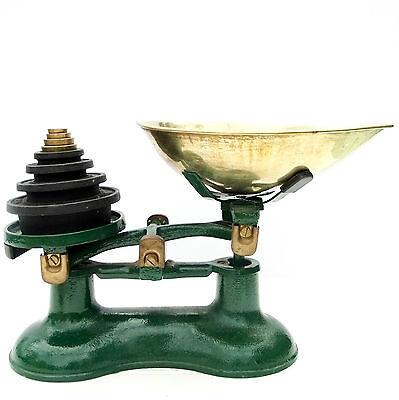 Vintage Green Victor Cast Iron Kitchen Balance Scales Brass Imperiial Weights