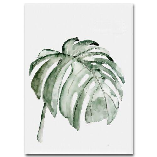 Watercolor Plant Leaves Landscape Canvas Painting Cactus Wall Art Picture