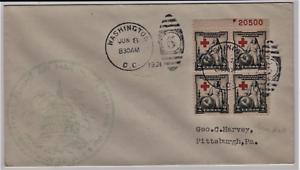 LTR-AERIEN-USA-FIRST-FLIGHT-1931-WASHINGTON-PITTSBURG-AFFT-BLOC-DE-4-CROIX-ROUGE