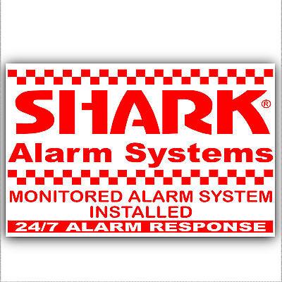 Doeltreffend 6 X Monitored Alarm System Stickers-shark Design-external Security Signs Notices Aromatisch Karakter En Aangename Smaak