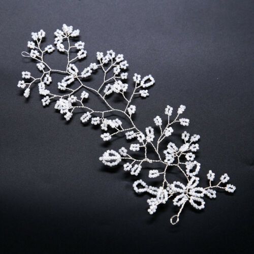 Women Bridal Wedding Pearls Floral Rhinestone Tiara Headband Hair Band Hair Clip