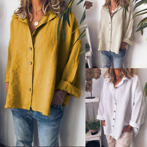 ZANZEA-Womens-Plus-Size-Long-Sleeve-Button-Down-Tops-Shirt-Casual-Loose-Blouse