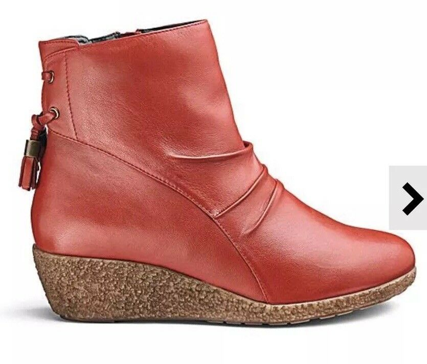 Jd Williams Womens Leather Wedge Ankle Boots Red EEE Fit Size