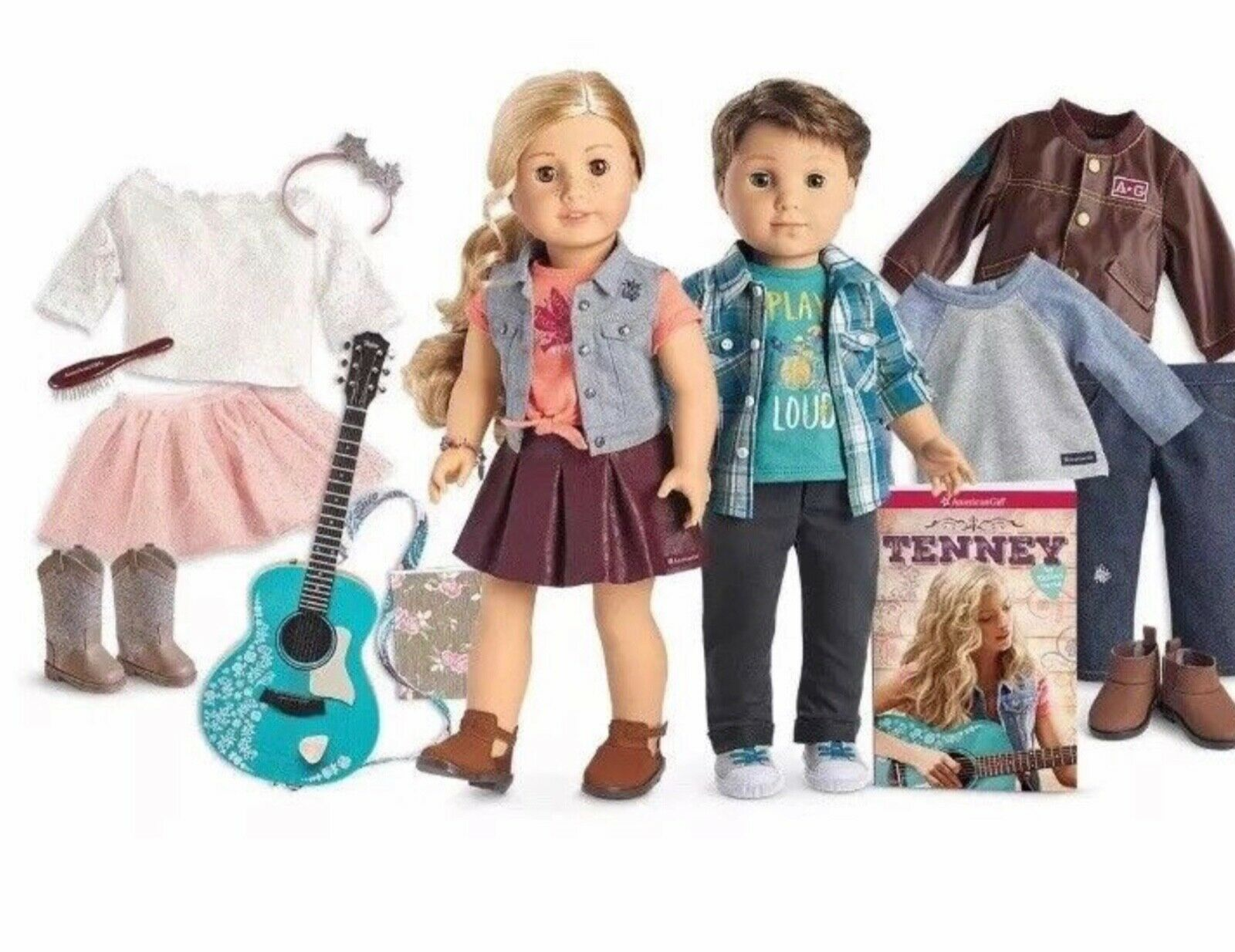 American Girl Tenney Grant, Logan Everet ,Guitar,2 Outfits And Hair Brush