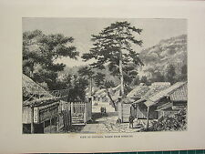 c1890 ANTIQUE PRINT ~ VIEW OF ODOVARA FROM TOKAI-FO ~ JAPAN