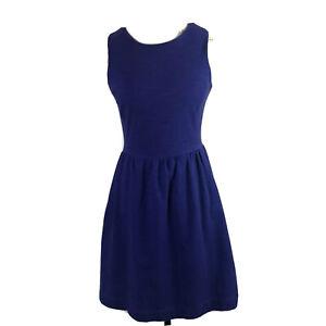 Madewell-Womens-Dress-Sz-S-Blue-Sleeveless-Fit-Flare-Knee-Length-Side-Pockets
