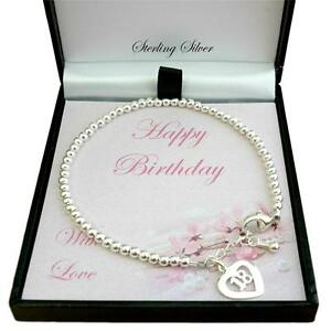 Image Is Loading Silver Beads Bracelet With 18 Charm 18th Birthday