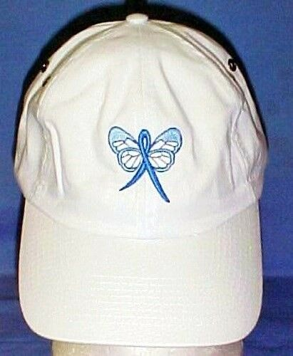Blue Awareness Ribbon Baseball Cap Butterfly Hat White Colon Cancer Child Abuse