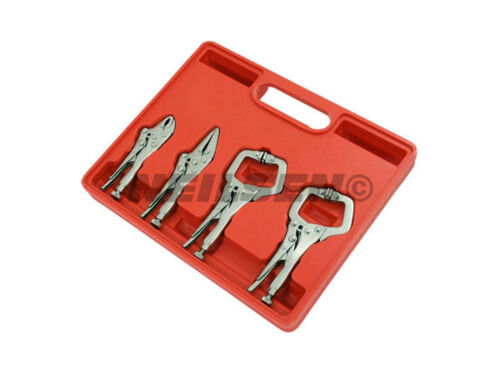 C Clamp Needle Nose Curved Pliers 4 Piece Mini Locking Mole Grip Wrench Set