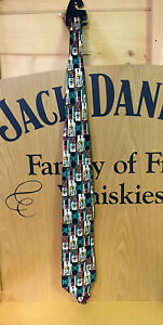 JACK-DANIELS-OLD-TIME-WHISKEY-PURE-SILK-DRESS-MULTI-COLOR-CRAVATEUR-TIE-NICE