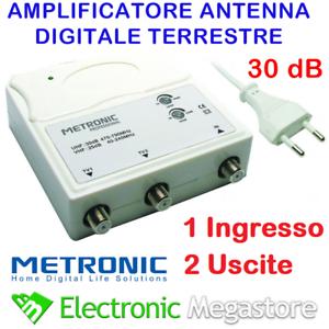 AMPLIFICATORE ANTENNA TV ALIMENTATO DI LINEA DA INTERNO 2 OUT 30dB 414113