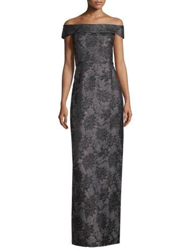 NWT $398 Karl Lagerfeld Black /& Gunmetal Metallic Gray Floral Jacquard Gown Sz 2