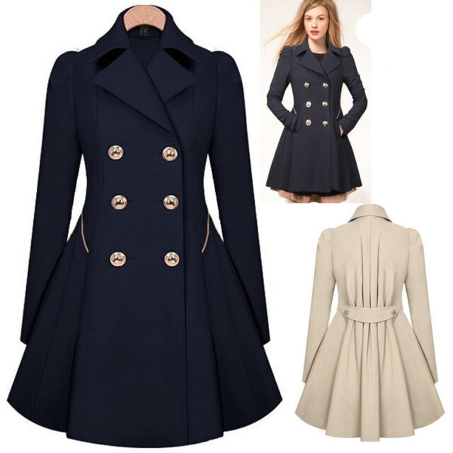 Women's Lady Slim Long Trench Coat Jacket Lapel Windbreaker Parka Outwear Tops