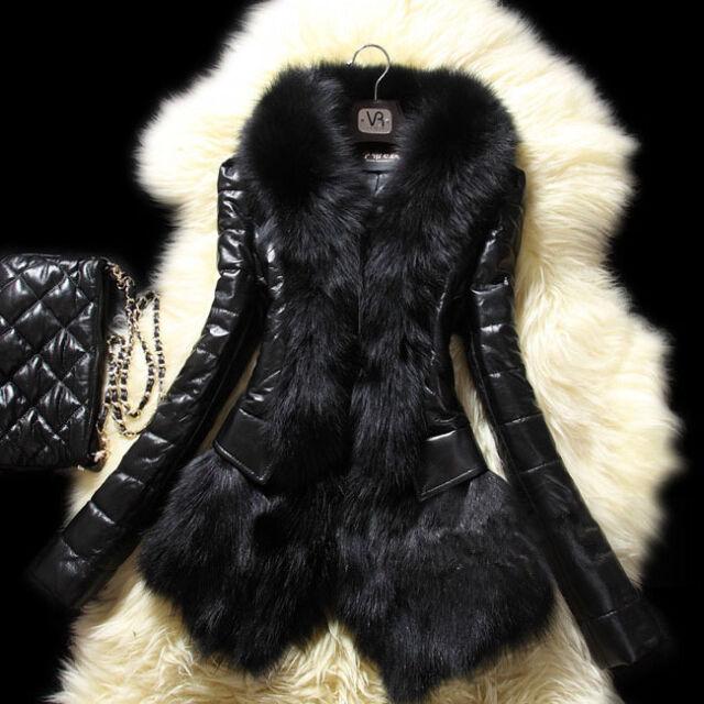 Winter Women's Warm Fur Collar Lady Leather Coat Jacket Parka Overcoat Outerwear