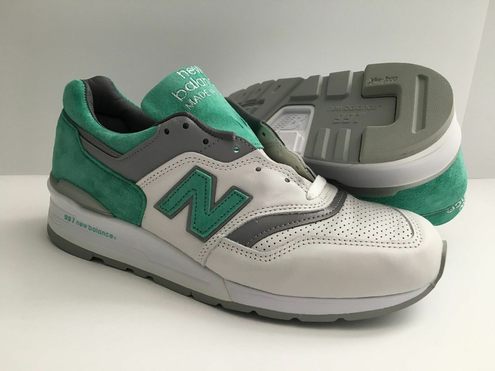 New Balance 997 Made In USA Leather RARE Mint Green Gray White M997CMA Sz 12