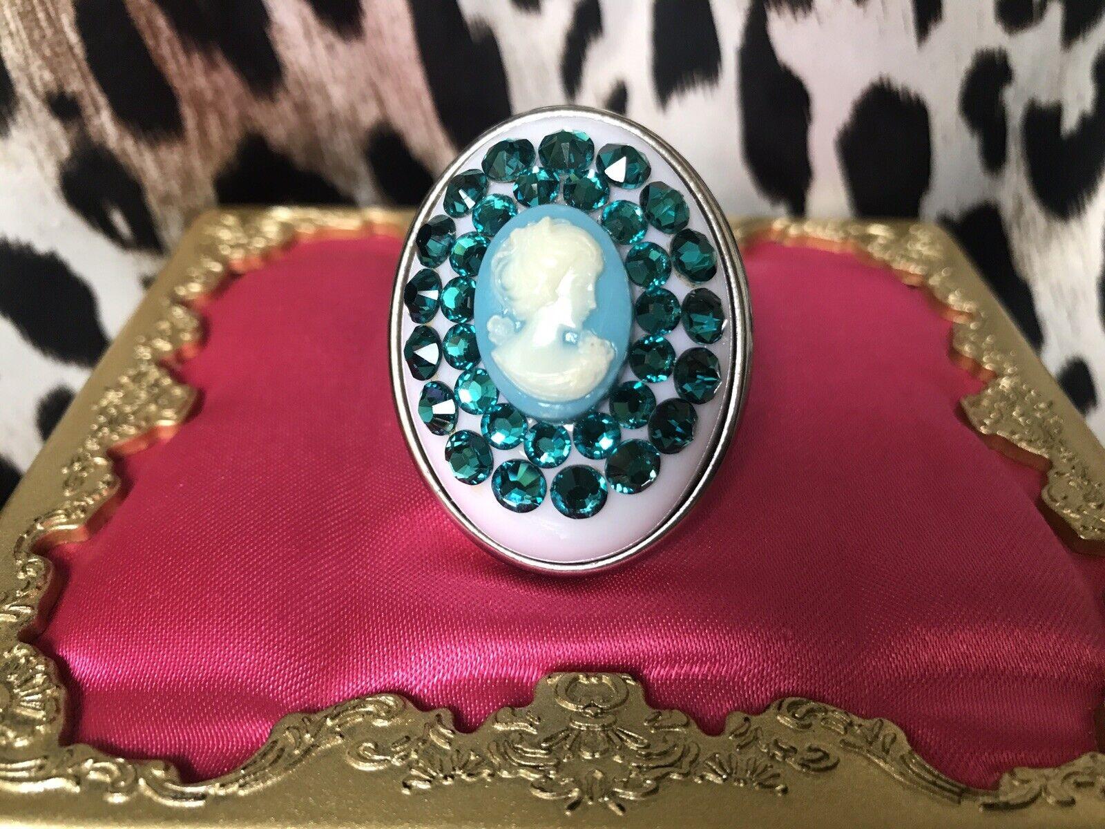 Tarina Tarantino HUGE Electro Cameo Teal bluee Crystal SPARKLY Swarovski Ring