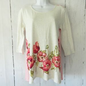 New-79-J-Jill-Top-XS-X-Small-Pink-Floral-Stripe-Linen-Blend-3-4-Sleeve