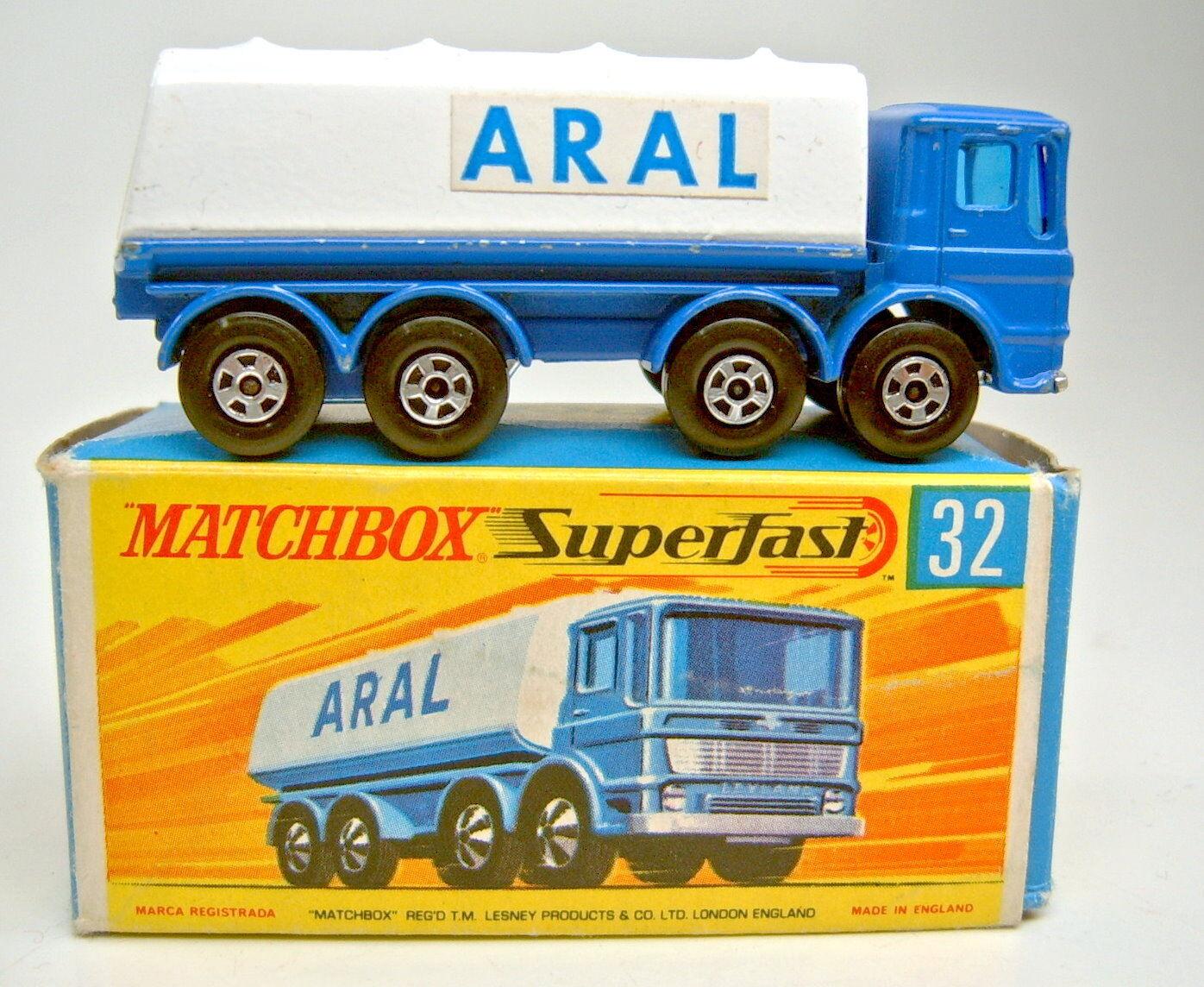 Matchbox SF Nr.32A Leyland Tanker blau & weiß  ARAL  in ARAL Box