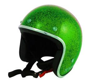 Casque-casco-helmet-jet-TORX-WYATT-VERT-GLITTER-Taille-XL-CAFE-RACER