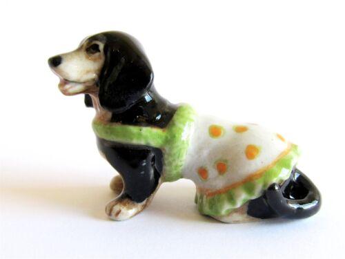 Dachshund Blk//Tan Orange Spot Jacket Miniature Ceramic Hand Painted Dog Figurine