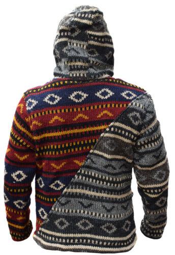 Inverno Uomo Hippie Giacca Patch Lana Fodera In Diagonali Pile w6qF0w