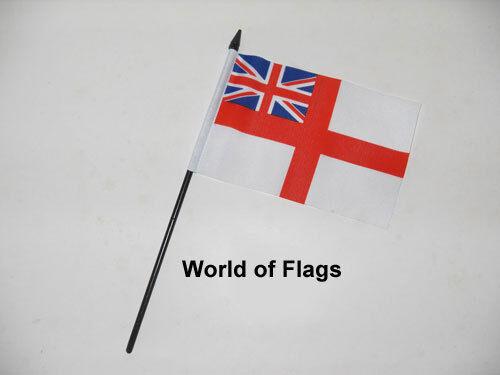 "WHITE ENSIGN SMALL HAND WAVING FLAG 6/"" x 4/"" British Royal Navy Desk Display"